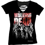 The Walking Dead Hands Blood Splatter Logo Crew-Neck Juniors Laser-Cut T-shirt M