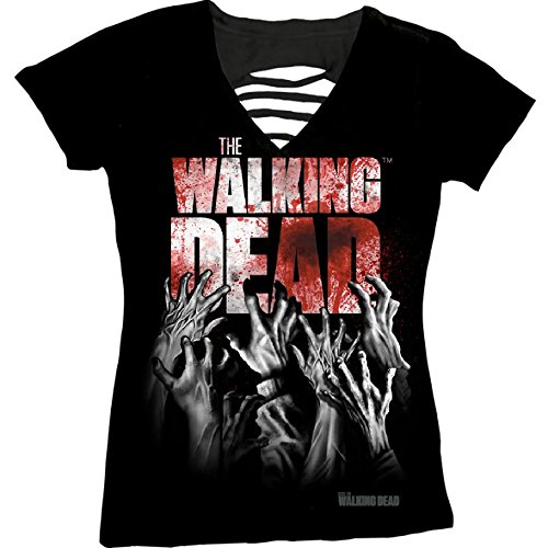 Logo Slit Tee Neck - The Walking Dead Hands Blood Splatter Logo Crew-Neck Juniors Laser-Cut T-shirt XL