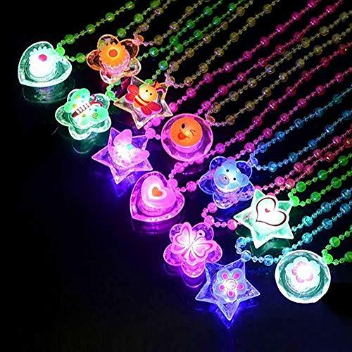 Flashing Necklaces - LED Flashing Crystal Necklace - Pack