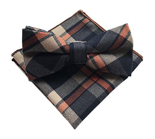 Wool Worsted Tartan - Elfeves Men's Navy Blue Orange Beige Bow Ties Set Self Cravat Friendly Neckties