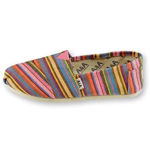 A & A Women Multicolor Slip-on Casual Flats Canvas Shoes Alpargatas (indie) Multicolore