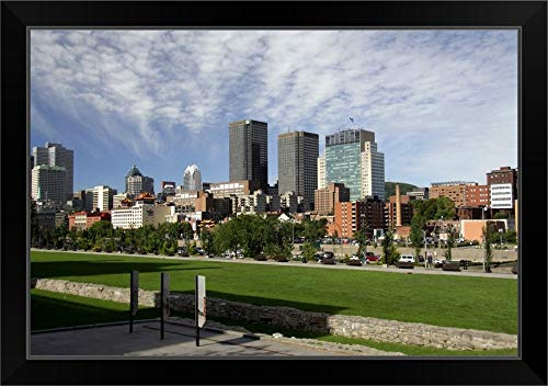 CANVAS ON DEMAND Canada, Quebec, Montreal. City Overview from Jacques Cartier Square Black Framed Art Print, 27