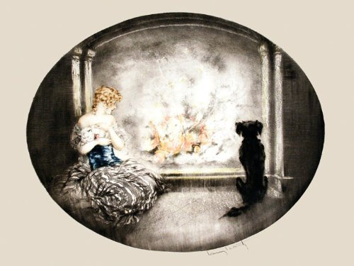 CANVAS Fashion Blonde Lady Girl with Persian Cat and Dog Fire Fireplace by Louis Icart Toulouse France French Artist 12'' X 16'' Image Size . Vintage poster on CANVAS. Art Reproduction by Heritage Posters