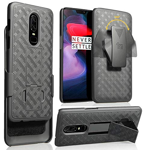 OnePlus 6 Case with Clip, Nakedcellphone Black Kickstand Hard Cover with [Rotating/Ratchet] Belt Hip Holster Combo for OnePlus 6 (A6000,A6003) from Nakedcellphone