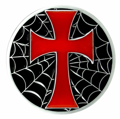Cross Belt Buckle with Spider Web - Black with Red Cross (Buckle Web Belt Spider)