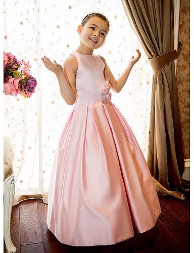 4778d00fb Xuanku A-Line Princess Floor Length Flower Girl Dress - Satin Sleeveless  Jewel Neck with