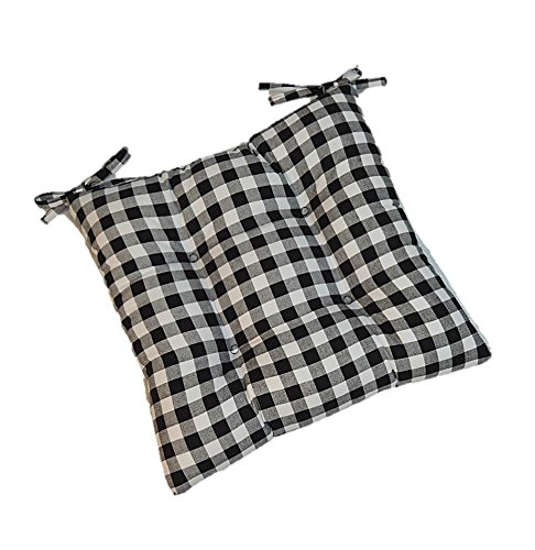 Indoor Cotton Black Plaid / Country Checkered / Checkerboard Universal Tufted Seat Cushion with Ties for Dining Kitchen Chair - Choose Size (16''w x 16''d)