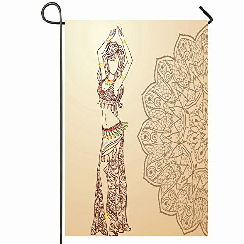 Ahawoso Outdoor Garden Flag 12x18 Inches Necklace Red Arab Girl Belly Dance Abstract Dress Ballet Gold India Dancer Design Navel Seasonal Home Decorative House Yard Sign]()