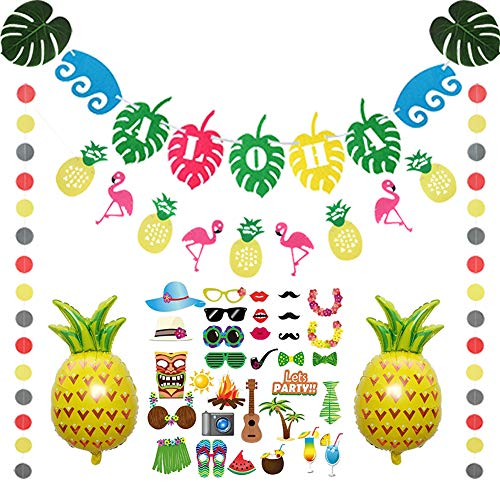 Hawaiian Luau Aloha Party Decorations Kit, Tropical Beach Pool Tiki Summer BBQ Themed Birthday Baby Shower Party Supplies Favors, Aloha Banner, Pineapple Foil Balloon, Photo Booth Props, Palm Leaves