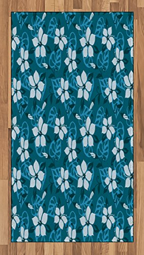 Tropical Area Rug by Lunarable, Hawaiian Style Floral Pattern with Buds Nature Inspired Abstract Composition, Flat Woven Accent Rug for Living Room Bedroom Dining Room, 2.6 x 5 FT, Petrol Blue (Inspired Tropical Living Rooms)