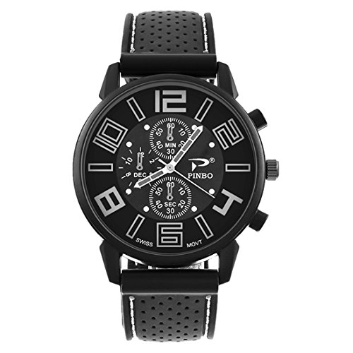 White Dial Black Silicone - Loweryeah Men Silicone Large Dial Car Line Strap Silicone Watch 27cm (Black White)