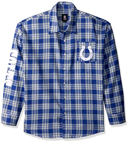 Indianapolis Colts Wordmark Basic Flannel Shirt Large (Indianapolis Colts Flannel)