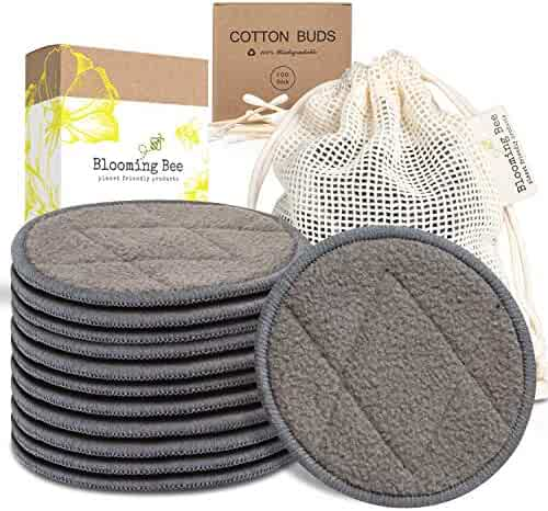12 Charcoal Bamboo Reusable Makeup Remover Pads and Biodegradable Cotton and Bamboo Earbuds (100 pieces)-Planet Friendly Reusable Cotton Pads-Organic Bamboo Cotton Face Rounds-Reusable Makeup Pads