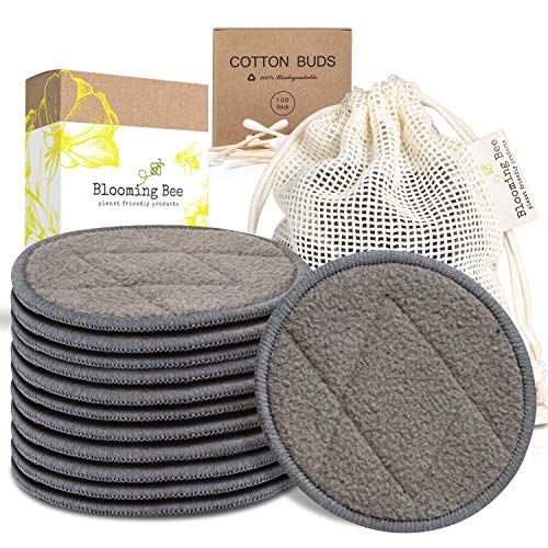 12 Charcoal Bamboo Reusable Makeup Remover Pads With Laundry Bag (+ 100% Biodegradable Cotton Bamboo Earbuds-100 pcs)-Planet Friendly Reusable Cotton Face Rounds Made From Organic Bamboo And Cotton