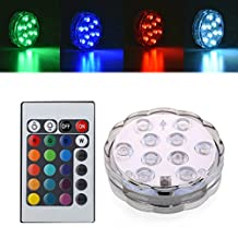 RioRand LED Submersible Lights Battery Operated RGB Multicolor with Remote Flickering Waterproof Mini Light for Aquarium, Centerpiece, Vase, Halloween, Christmas, Wedding Lighting, Party (1pcs)