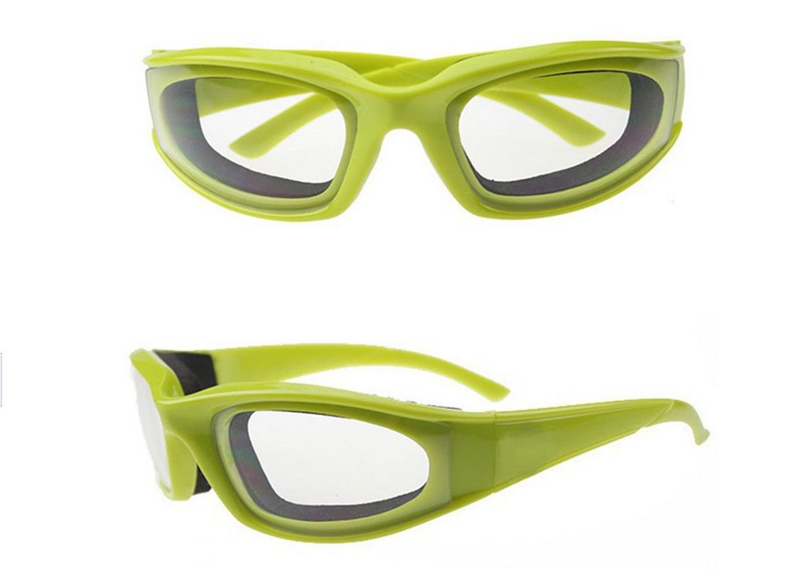 Tears Free Onion Goggles Glasses Built In Sponge Kitchen Slicing Eye Protect green color