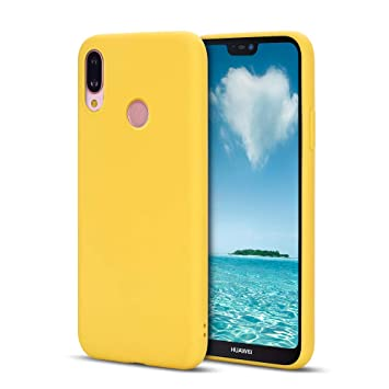 MOSORIS Funda Huawei P20 Lite, Amarillo Carcasa de Mate Superficie [ Anti-Huella Dactilar ], Suave TPU Silicona Tapa Ultra Delgado Protectora Case ...