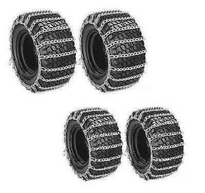 The ROP Shop Front & Rear TIRE Chains 2-Link for John Deere 430 445 455 Tractor Snow Blower by The ROP Shop