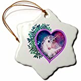 3dRose A Sweet Unicorn forever Held within a Floral Heart of Love Ornament Snowflake Porcelain Ornament, 3-Inch