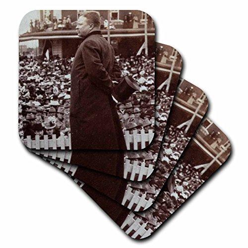 Scenes from the Past Stereoview - President Roosevelt speaking at Abilene Kansas 1903 Vintage Stereoview - set of 4 Coasters - Soft (cst_240512_1) - Abilene Furniture Set