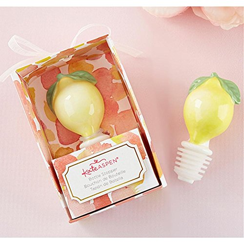 Ceramic Lemon Bottle Stopper - 80 Pack by Kate Aspen