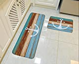 """Goodbath Kitchen Rugs, Retro Nautical Anchor Non Slip Kitchen Rug Set 2 Piece, 16"""" x 48"""" and 16"""" x 24"""", Brown and Turquoise (Anchor)"""