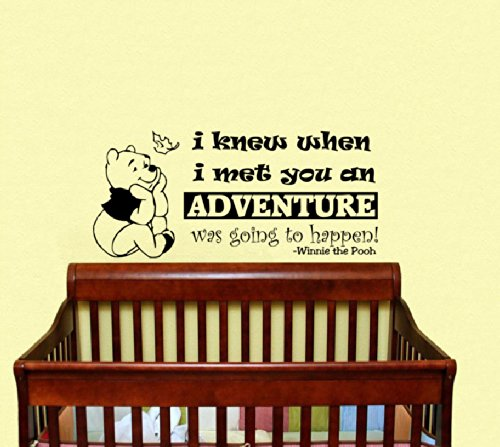 Housewares Vinyl Decal Winnie the Pooh Quote I Knew When I Met You an Adventure Was Going to Happen Home Wall Art Decor Removable Stylish Sticker Mural Unique Design for Room Baby Kid Nursery