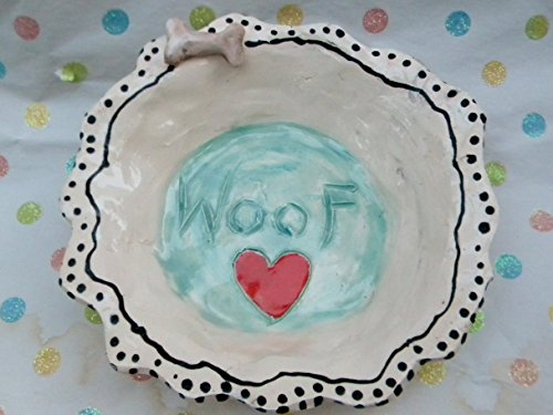 'Woof' Designer doggie dish with bone detail, signed by WhimsiClay's Amy Lacombe 10% to ASPCA (Angel Figurine Designer)