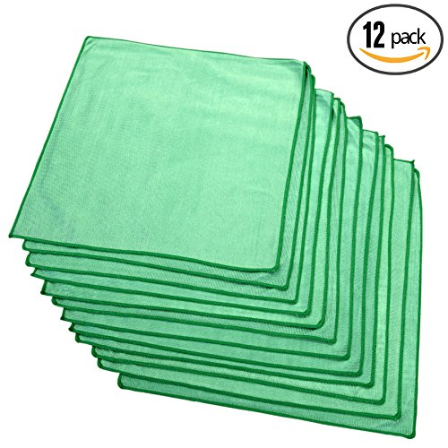 (12-Pack) THE RAG COMPANY Microfiber Window, Glass, Mirror & Chrome Professional Cleaning and Detailing Towels LINT-FREE, STREAK-FREE (16 x 16)