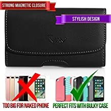 Leather Case for Samsung Galaxy Alpha, TMAN Premium Horizontal Pouch Protective Carrying Holster with Belt Clip (Fits with Otterbox, Lifeproof, Waterproof, Battery and Other Armor Case)