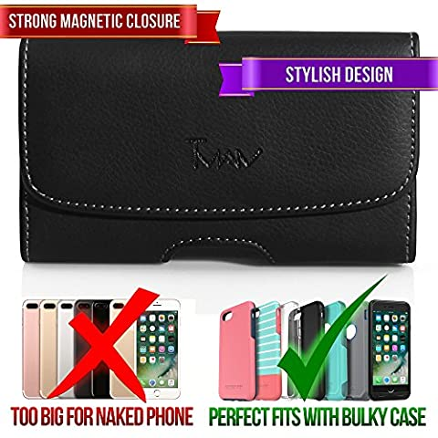 Leather Horizontal Belt Clip Case Pouch Holster for LG Spectrum Revolution 2 Nitro HD P930 Optimus 4X HD P880 [PERFECT FITS WITH OTTERBOX COMMUTER ON IT (Lg Nitro Hd P930 Otter Box)