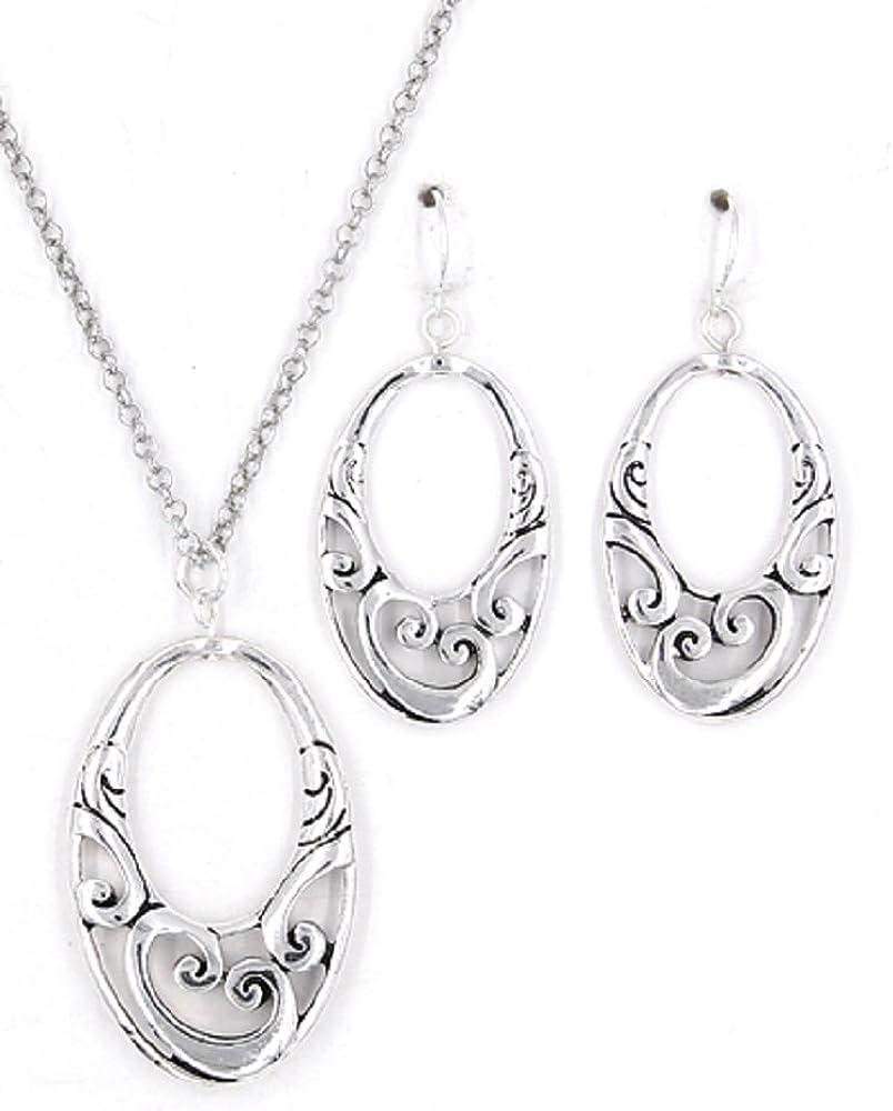 Filigree Silver Oval Teardrop Mingle Necklace and Earrings Set