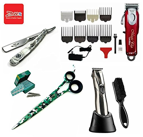 Traveling Barber Kit Cosmetology School Kit / Beauty Professional hairdressing Wahl Cordless Magic Clipper Andis Slimline Pro Li Trimmer Zeepk 8'' Shears Barber Shavette Razor with 100 Derby Blades by LIBERTY SUPPLY