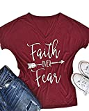 Feel Show Women's Casual Letters Printed T-Shirt Short Sleeves Faith Over Fear Arrow Tee Tops Blouse