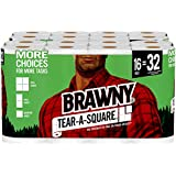 Brawny Tear-A-Square Paper Towels, 16 Rolls, 16 = 32 Regular Rolls, 3 Sheet Size Options, Quarter Size Sheets