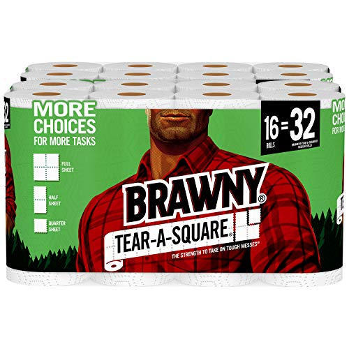 Brawny Tear-A-Square Paper Towels, 16 Rolls, 16 = 32 Regular Rolls, 3 Sheet Size Options, Quarter Size -