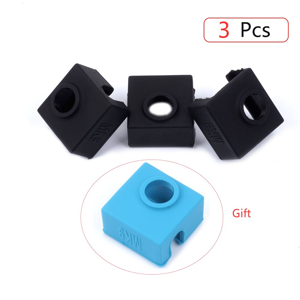 3D Printer Silicone Sock, FYSETC Heater Block Silicone Cover MK7 MK8 MK9 Hotend Heater Protect for Wanhao i3 Creality CR-10 Mini S4,S5 Anet A8 Ender 3 and More- 3 Pcs, Black