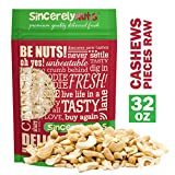 Sincerely Nuts – Raw Cashew Pieces | Two Lb. Bag | Deluxe Kosher Snack Food | Healthy Source of Protein, Vitamin & Nutritional Mineral Content | Vegan, Keto, Paleo | Gourmet Quality Cashew Nut
