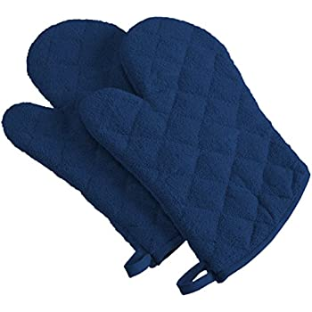 DII 100% Cotton, Terry Oven Mitt Set Machine Washable, Heat Resistant, 7 x 13, Nautical Blue, 2 Piece