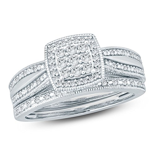 (1/4 Ct Round Diamond Cluster Cushion Shaped Engagement Wedding Set In Sterling Silver (IJ/I2))