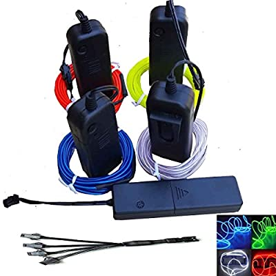 4 Pack - JYtrend 15ft Neon Glowing Strobing Electroluminescent Wire /El Wire + 4 Battery Pack Controllers + 1 Free Sound Activated Controller + 1 Free 4 Way Splitter (Blue, Green, White, Red)