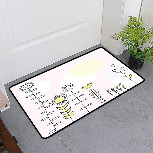TableCovers&Home Inlet Outdoor Door Mat, Kids Decorative Rugs for Kitchen, Cute Sunflower Tulips Daisy Field Sun Nature Childish Cartoon Design (Light Pink Yellow Blue Green, H36 x W60)