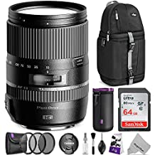 Tamron 16-300mm f/3.5-6.3 Di II VC PZD Macro Lens for Nikon DSLR Cameras w/Advanced Photo and Travel Bundle