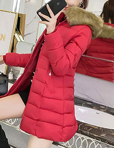 Piumino Slim Giacca Imbottita Ultraleggeri Rosso Cappuccio Lunga Con Sintetica Donna Pelliccia Laozana wxOIfA65
