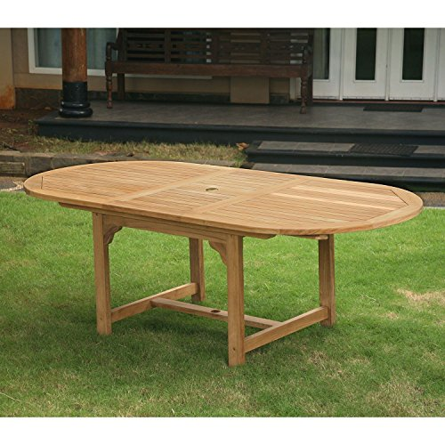 Extendable Dining Table Grade A - Piemonte Teak Oval Features Brass-Plated Steel Screws and Teak Wood, Perfect for Patio or Outdoor ()