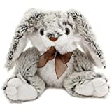 BRUBAKER Grey and White Plush Bunny - Stuffed Animal - 14 Inches - With Bow Tie