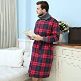 Pajamas Mens Pajamas 100% Cotton Super Soft Thick Bath Robe Belt And Two Front Pockets Couples Gown For Gym Shower Spa Hotel Nightgown Holiday Present Adults Bath Robe ( Size : XL )