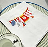 Set of 4 100% Cotton Dinner Napkins White 17'' X 27'' ,Kitchen Table Cloth, Perfect for Brunch,Weddings, Showers, Dinner Parties and Everyday Use, With embroidery Kitchenware pattern