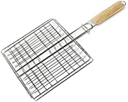 DEIHENG Cesta de churrasqueira portátil de aço inoxidável antiaderente, ferramentas de cesta de grelha de malh