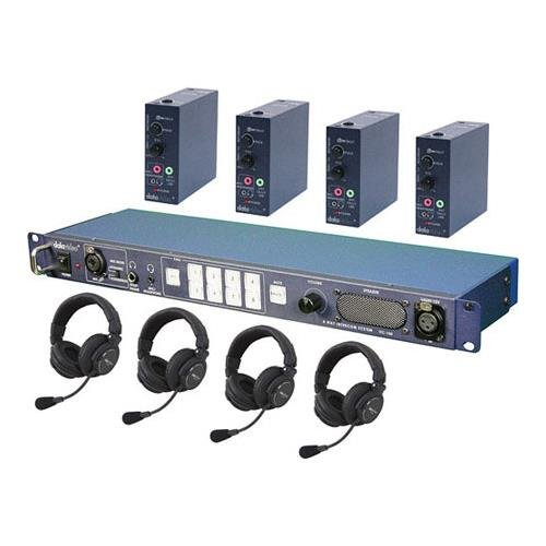 Datavideo ITC-100 Intercom Base Station, Includes 20m (65') Cables, Belt Packs, Tally Lights for 4 Users and 4 x HP-2A Headsets - Itc 100 Intercom